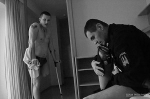Pavlo Bishko - Injured Ukrainian soldiers in a room of an Austrian rehabilitation center